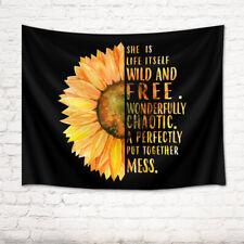 Sunflower Inspirational Word Black Background Tapestry Wall Hanging Bedroom Dorm