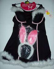 """Señoras NEGRAS DE « Bunny Girl """"de vestir Traje Con emparejar Tanga & Bunny Orejas"""