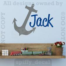 MONOGRAM Personalized Name Vinyl Wall Decal Sticker Nursery Boy Girl Boat Anchor