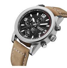 Megir Fashion Mens Chronograph Leather Strap Quartz with Luminous watch Skeleton
