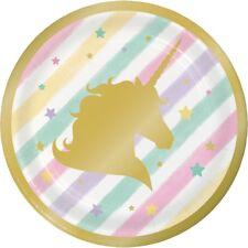 Licorne scintillant doré 18cm Assiettes Fête dessert gâteau magique Fantaisie