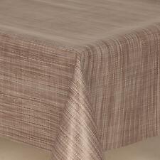 PLAIN TEXTURED GREY BEIGE STRIPES PVC OIL VINYL TABLE CLOTH WIPE CLEAN MODERN