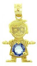 Solid Gold March Birthstone Aquamarine CZ Baby Boy Charm Pendant