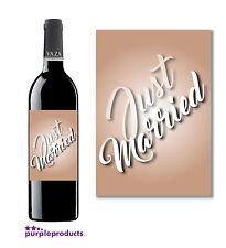 Just married bouteille de vin étiquette autocollant cadeau