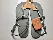 Havaianas Women`s Flip Flops Sexy Freedom Sandal Steel Grey / Silver Straps NWT