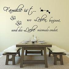 Wandtattoo Wohnzimmer Spruch Familie ist wo  Leben beginnt und.. Liebe , Flur