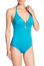 Laundry By Shelli Segal® M, L, Xl Enamel Blue Plunge Halter Swimsuit Nwt $98