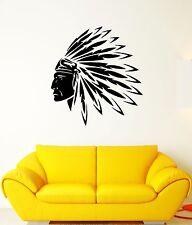 Wall Decal Chingachgook Leader Feathers America Head Vinyl Stickers (ed249)