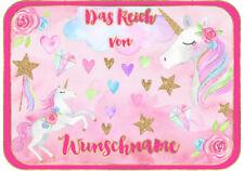 ✿ Süßes EINHORN Unicorn Türschild Schild Deko Kinderzimmer ✿ eigener Text & Name