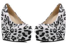 Decolletage Shoes Ladies Animal Black and White Wedge 15 cm Platform 6 cm 8450