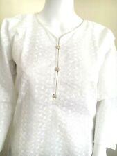 Indian Pakistani Summer Cotton White Chiken Kurta Top Dress Size M,L, XL,XXL