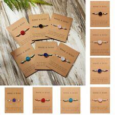 f8a1f2a6379 Make a Wish Handmade Natural Stone Charm Bracelet Bangle Friendship Card  Jewelry