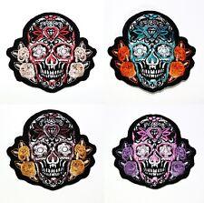 Calavera De Muertos Diamond Sugar Skull Tattoo Harley Biker Jacket Iron on patch