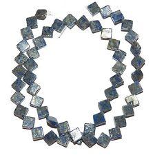 "NG2469f Blue Lapis Lazuli 6mm Flat Diamond Gemstone Beads 15"""