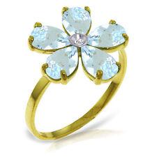 Genuine Aquamarine Gemstones & Diamond Flower Ring 14K. Yellow, White, Rose Gold
