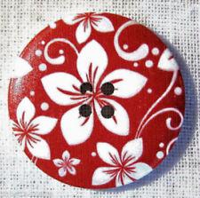 40/006 - BOUTON BOIS VERNIS FLEURI rouge ** 40 mm 4 cm ** Lot au choix X1 X2 X3