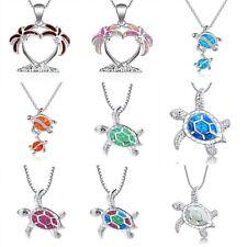 Hawksbill Sea Turtle Ocean Blue Fire Opal Inlay Silver Jewelry Necklace Pendants