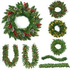 Pre Lit Prelit Decorated Wreath Garland Christmas Xmas Home Decorations Decor