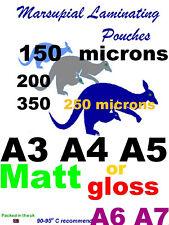 100 laminating pouches gloss matt A3 A4 A5 A6 A7 luggage ID CC badge 6090 + slot