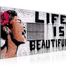 WANDBILDER Life is Beautiful Banksy VLIES LEINWAND BILD - XXL BILDER KUNSTDRUCK