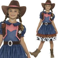 ragazze Cowboy Girl Abito TEXANO MARRONE CAPPELLO ROSSO bambini vestito smiffys
