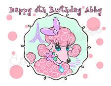 Pink Poodle edible cake image frosting sheet