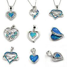 Anhänger Kette Silberkette Halskette Opal blau Schmuck HERZ 925 Sterling Silber