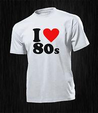 TSHIRT UOMO DONNA  HAPPINESS  DIVERTENTE   i love 80's  ANNI 80