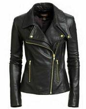 Noora New Women Lambskin Leather Designer Black Jacket Modern Biker Styles QD278