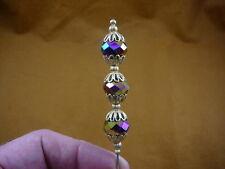 (u70-23) 14x10 Purple faceted glass bead filigree gold hatpin Pin hat pins hats