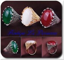Luxus XL Ring Stein Jade  Versilbert Vergoldet  Damenringe Fingerringe Designer