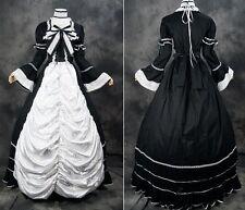 v-07 TALLA S Negro Blanco Victoriano Lolita Gótica ball-kleid Vestido traje