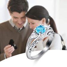 Round Cut Engagement Jewelry Gemstones Aquamarine Ring Sterling Silver Wedding