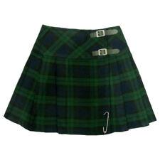 Scottish Women Mini Black Watch Tartan Kilt/Ladies Skirt 16' long Free Kilt pin