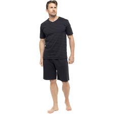 OCTAVE® Mens Jersey Cotton V-Neck Striped T-Shirt & Shorts Summer Pyjama Set