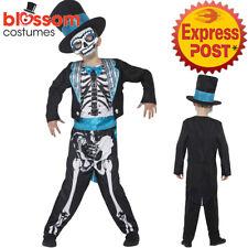CK1049 Day of the Dead Groom Costume Boys Kids Skeleton Halloween Fancy Dress Up
