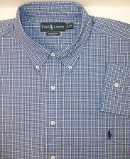 Polo Ralph Lauren Classic Fit LS Shirt Tattersall Plaid Blue White $95  Pony NWT