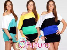 ELEGANTE 3-colors Mujer Túnica Cuello Barco Kimono Top Largo Talla 8-12 5030