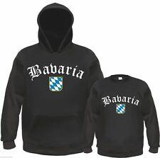 """BAVARIA Sweatshirt or Hoodie """"Old German"""" - Black / White - S - 3XL - Bavaria"""
