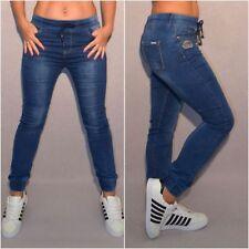 """Bequeme stretch Jeans mit Gummi Bündchen & Stickerei """"KRONE"""" blau"""