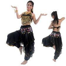 NEW Belly Dance Costume set  TOP&Tribal Gold Wavy Harem Pants Skirt  blacks