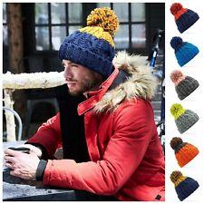 Luxury Cable Knit Pom Pom Bobble Beanie Woolly Hat Chunky Winter Warm Ski Soft