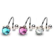 1 x 14G Round CZ Spiral Twist Barbell Ring Body Piercing Jewellery