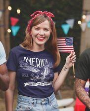 Women's Vintage America T-Shirt Vintage Patriotic Shirts 4th July T-Shirt Eagle