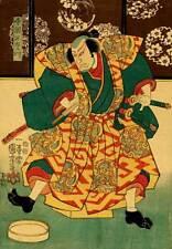 Samurai with Dragon Coat 30x44 Japanese Print Asian Art Japan Warrior