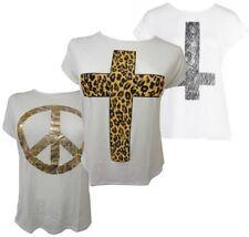Da Donna Taglie Forti Maglietta Con Stampa Estate Elasticizzato T-shirt 16-26