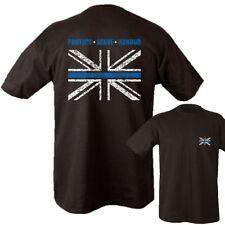 POLICE T-SHIRT S-2XL PROTECT SERVE 100% COTTON THIN BLUE LINE UNION JACK UK TOP