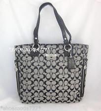 $348 COACH Gallery NS Zipper Tote Bag Handbag Purse Signature Black Khaki 19388