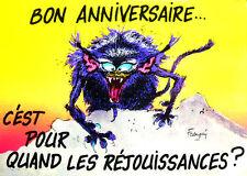 CARTE postale d'anniversaire joyeux monstres de Franquin BON ANNIVERSAIRE !