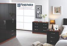Stratford Black Tuscany Walnut Chest Set Fully Ready Assembled Bedroom Furniture